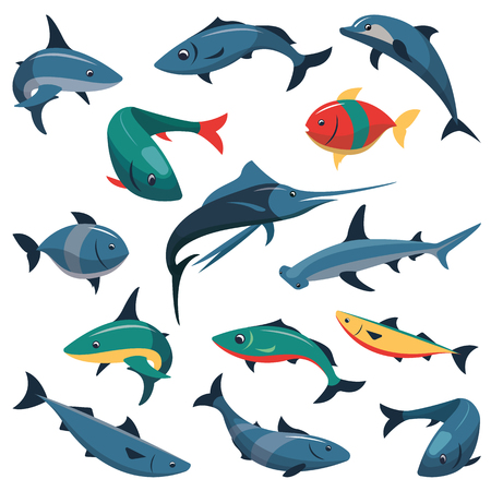 billfish: Vector set of fish icons in flat style