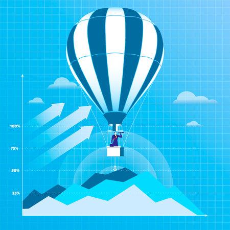 Vector illustration of businessman flying on hot air balloon