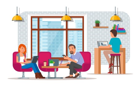 Coworking center concept vector illustration, flat style design