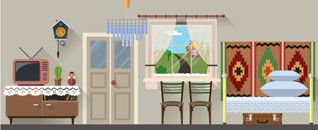 old items: Vector illustration of retro interior in flat style Stock Photo