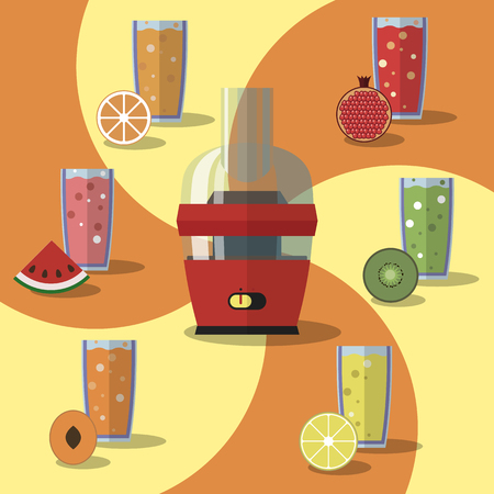 juice extractor: Vector illustration of electric juicer, juices and slices of fruits