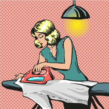 Vector pop-artillustratie van vrouw het strijken kleren Vector Illustratie