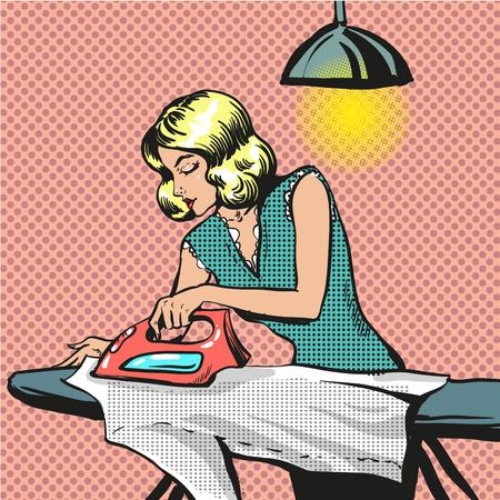 Wektorowa pop sztuki ilustracja kobiety prasowania odziewa Ilustracje wektorowe