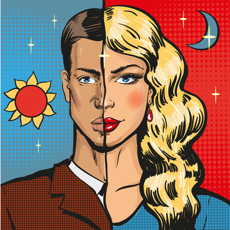 Vector pop art illustration of male wearing feminine clothing