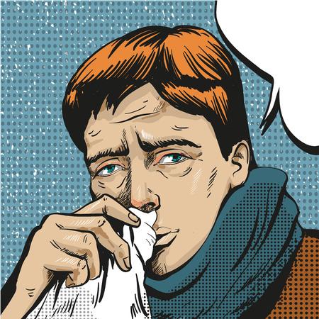 Vector pop art illustration of sick man  イラスト・ベクター素材