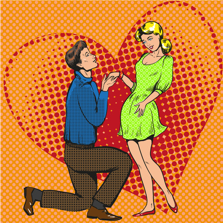 Vector pop art illustration of man proposing marriage to girlfriend