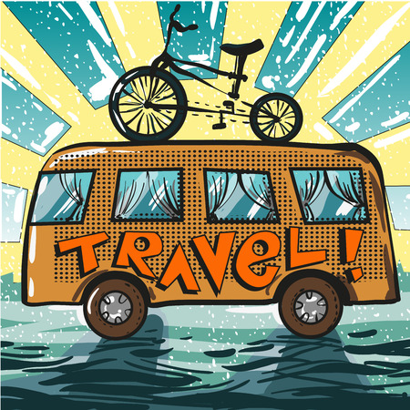 Vector vintage travel poster. Illustration of travel bus and bike standing on it in retro pop art comic style. Illustration