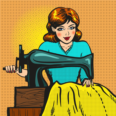 work clothes: Vector illustration of young woman seamstress sewing on machine. Atelier, sewing workshop, fashion house concept in retro pop art comic style.