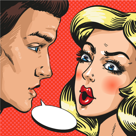associates: Vector illustration of young couple, husband and wife, lovers talking to each other. Serious talk or love conflict concept, speech bubble in retro pop art comic style.