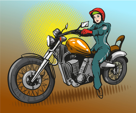 advertizing: Vector illustration of young woman sitting on motorcycle. Motorcyclist or model girl in retro pop art comic style.