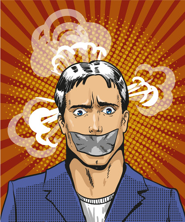 Vector illustration of young man with taped mouth in retro pop art comic style. Person is not able to express his thoughts. Illustration