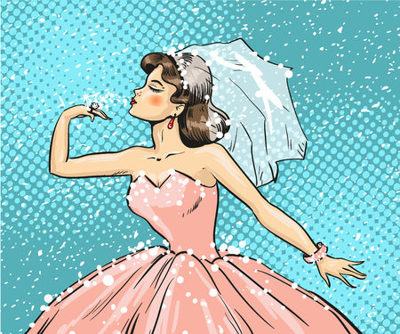 vintage pin up: Vector illustration of bride looking at wedding ring on her finger. Beautiful lady wearing wedding dress and bridal veil in retro pop art comic style. Illustration