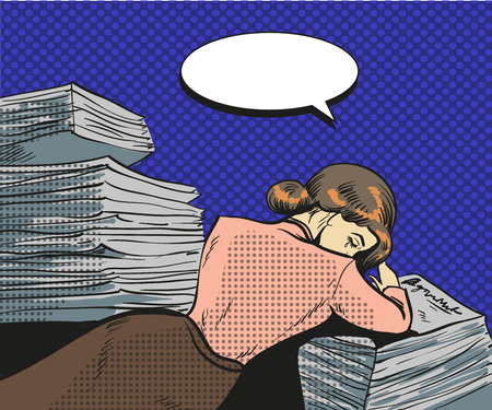Vector vintage pop art illustration of tired businesswoman. Young woman falling asleep on the heap of papers in retro pop art comic style. Illustration
