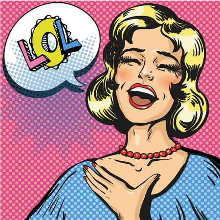 Illustration vectorielle de rire à haute voix, femme aux yeux fermés. Pop art jeune femme et comique bulle de parole Lol. Vecteurs