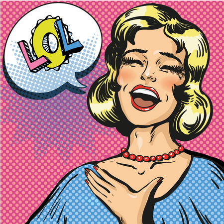 Vector illustration of laughing out loud woman with closed eyes. Pop art young lady and comic speech bubble Lol.
