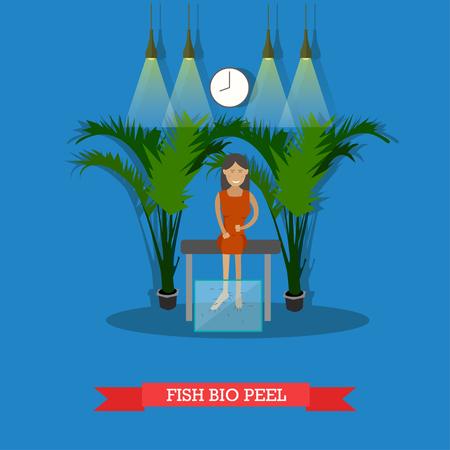 Vector illustratie van jonge vrouw die vis bio-spa spa therapie. Pedicure met Garra rufa. Spa diensten concept design elementen in platte stijl.