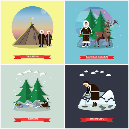 herder: Vector set of wild north posters, banners in flat style