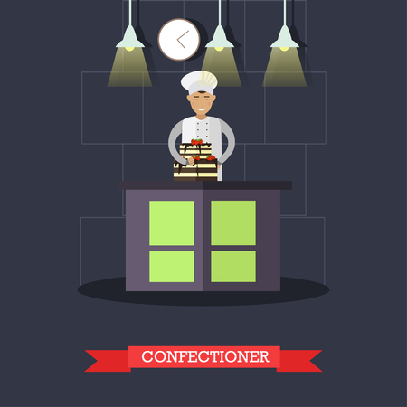 tiers: Vector flat illustration of confectioner and cake with two tiers