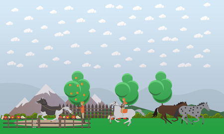 Free or wild horses vector illustration in flat style
