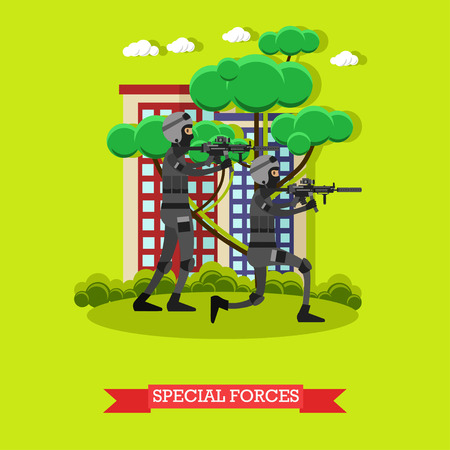shootout: Special Forces vector Illustration in flat style