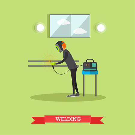 Vector illustration of factory worker in welding mask using welding equipment. Metalworking, welder concept design element in flat style.