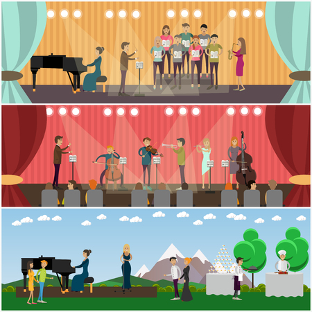 Vector set of orchestra concept posters, banners. Musicians playing music and singing on stage of concert hall and outdoors design elements in flat style. Stock Photo