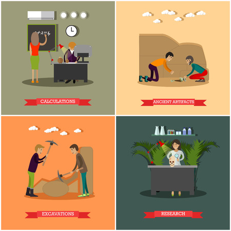 Vector set of archaeological excavations concept posters in flat style