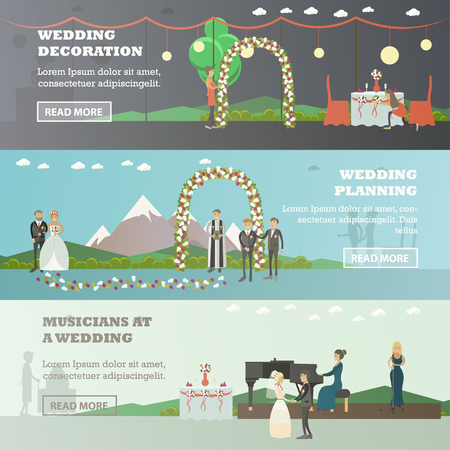 wedding reception decoration: Vector set of wedding horizontal banners. Wedding decoration, Wedding planning and Musicians at a party flat style design elements. Illustration