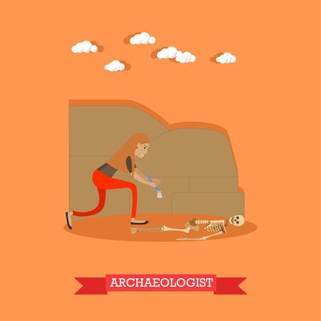 Illustration vectorielle de archéologue profession concept dans le style plat