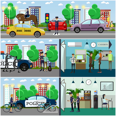 Vecteur série d'affiches de concept de police, bannières dans un style plat Vecteurs