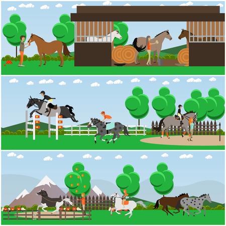 Vector set van paardrijden posters, banners in platte stijl