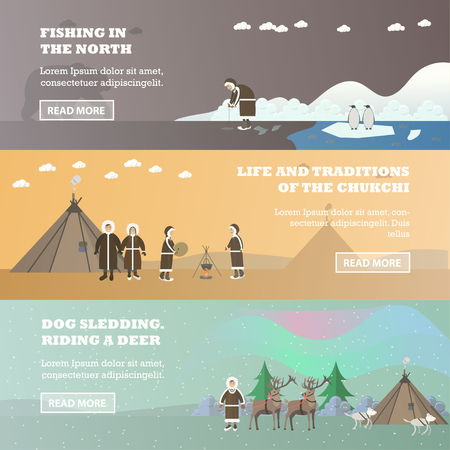 herder: Vector set of north horizontal banners in flat style