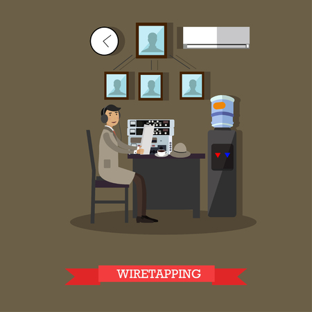 shadowing: Wiretapping concept vector illustration in flat style Illustration