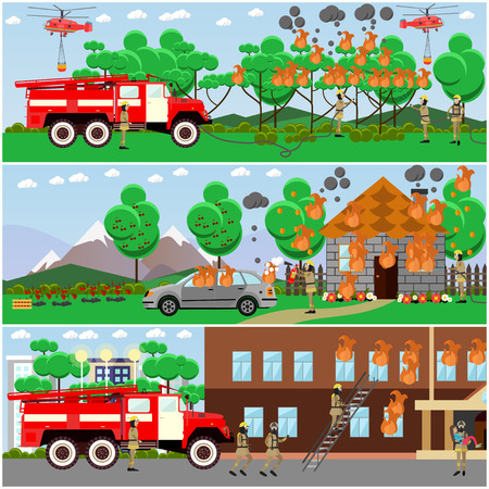 storied: Vector set of fire posters, banners. Firefighters extinguishing fire in the forest, in city two-storied house and in cottage house. Flat style design elements.