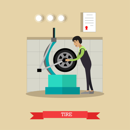 Tire service vector illustration in flat style