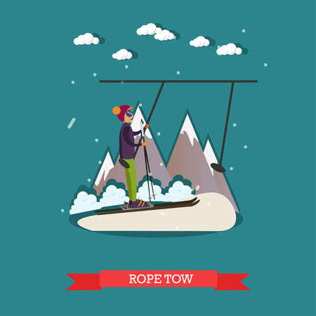 Rope tow vector illustration in flat style