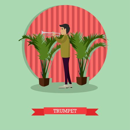 cornet: Musician trumpet player vector illustration in flat style