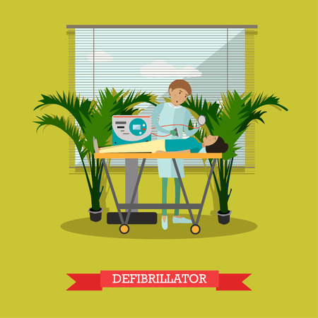 Defibrillator vector illustration in flat style