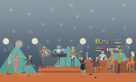 crowd happy people: Party club vector illustration. People dancing to live music and having fun concept design element in flat style. Stock Photo