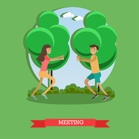 Vector flat illustration of loving couple meeting in park