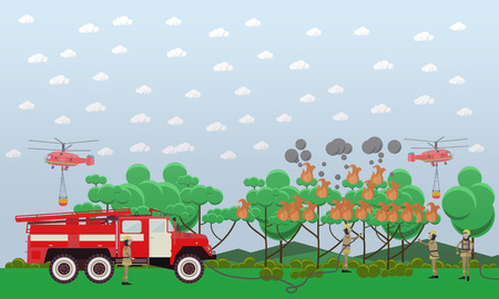 Vector illustration of fire engine, helicopters and firemen in protective clothing extinguishing fire in woodland. Fire in the forest design element in flat style. Stock Photo