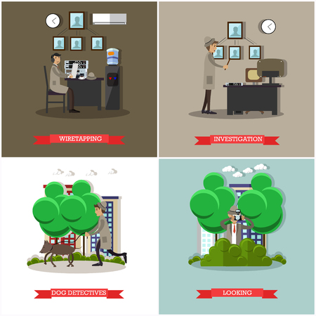 observable: Vector set of investigation posters in flat style