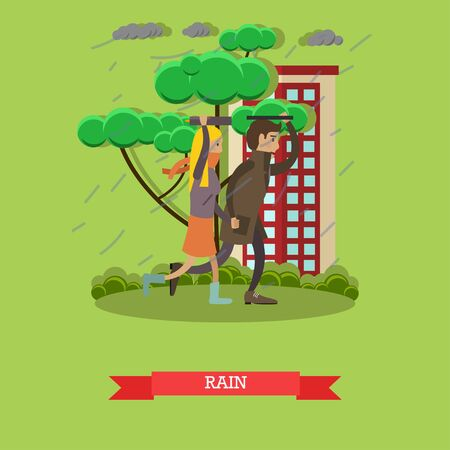 torrential rain: Wet, rainy weather concept vector illustration. Young couple running away from heavy rain. Torrential rain flat style design. Stock Photo