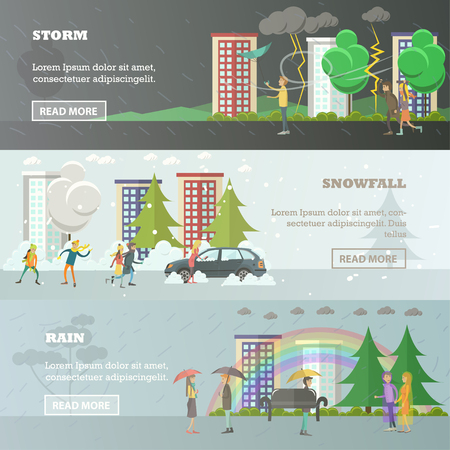 Vector set of weather concept horizontal banners in flat style