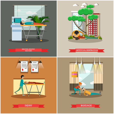 medical ventilator: Vector set of first aid posters in flat style Illustration