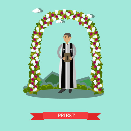 hymn: Vector flat illustration of priest under wedding arch