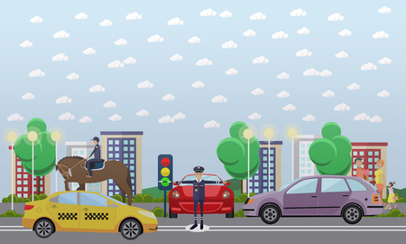 Traffic policeman and mounted police, vector flat illustration