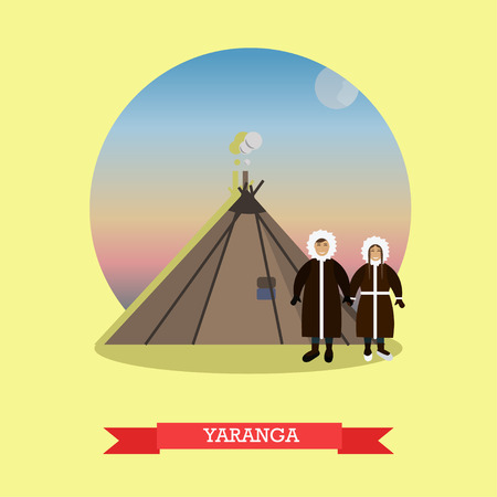 nomadic: Vector illustration of Chukchi couple, nomadic northern indigenous people of Russia and yaranga, their traditional home. Flat style design element. Stock Photo