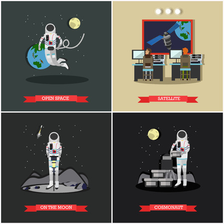 spaceflight: Vector set of space exploration posters, banners in flat style.