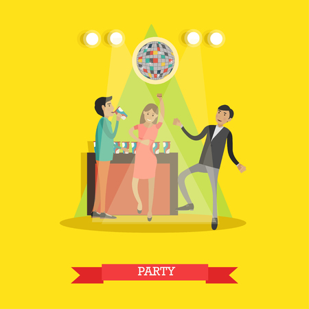 Disco party vector illustration in flat style